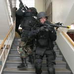 SWAT team in a stairwell