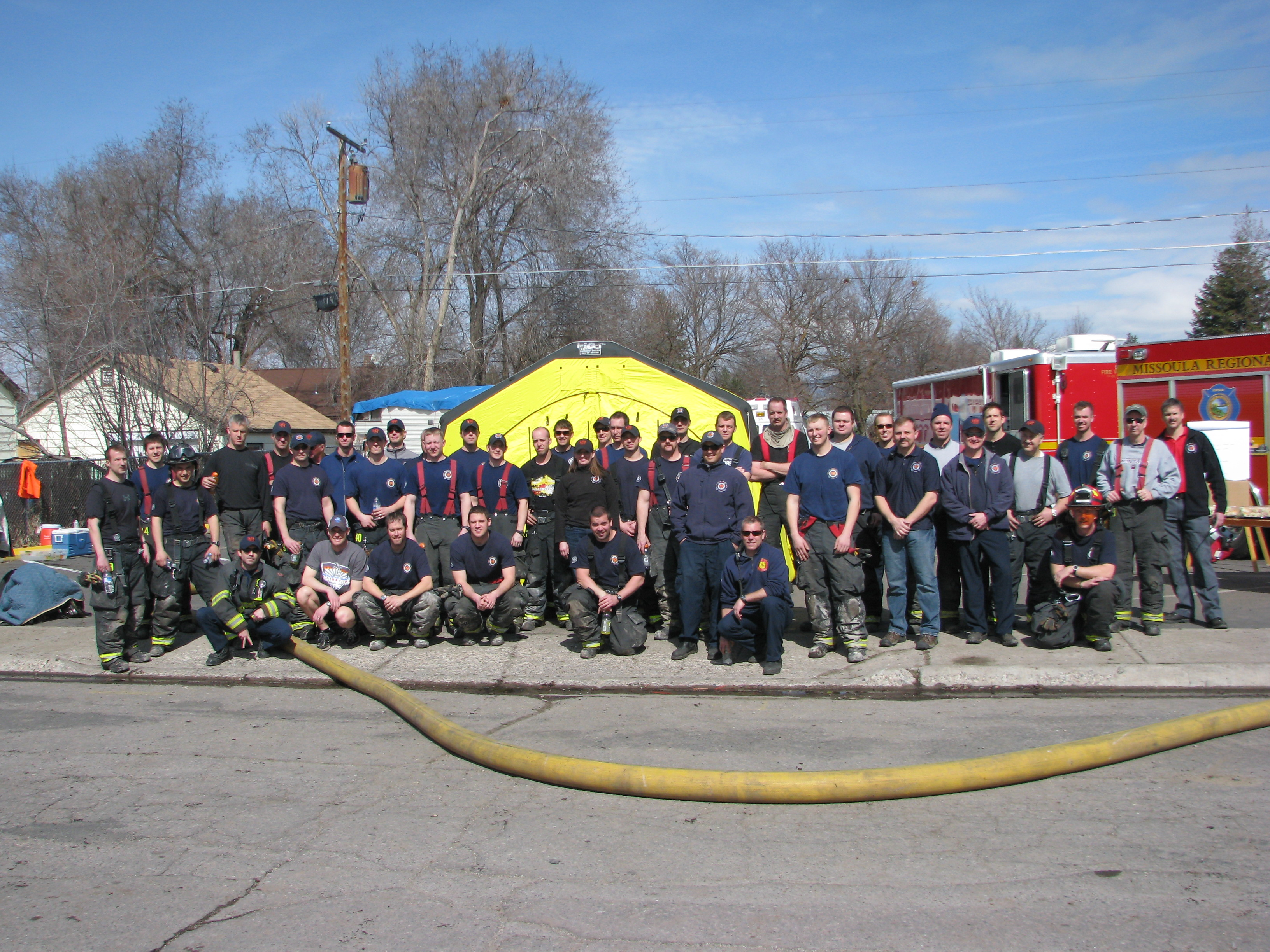 MFD Staff posed after a live burn training exercise.