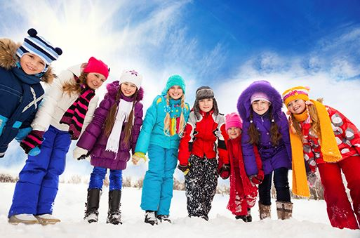 Kids outdoors winter