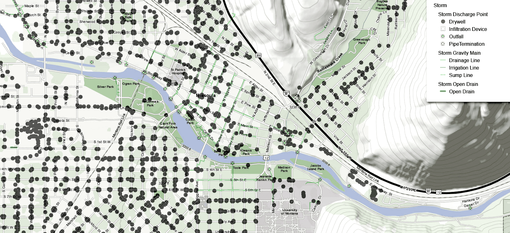Image showing part of the Missoula Storm Water Map, including hundreds of drywells in a square mile area, with a link to the full page map. Opens in new window